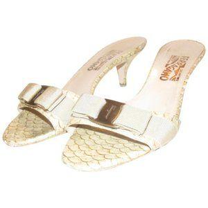 Ferragamo VARA Taupe & Gold Marbled Design Mules